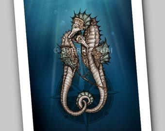 Steampunk Seahorses in Love, Art Print, Sale