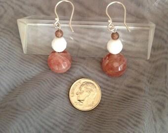 Triangle Glow - Quartz & vintage glass Earrings