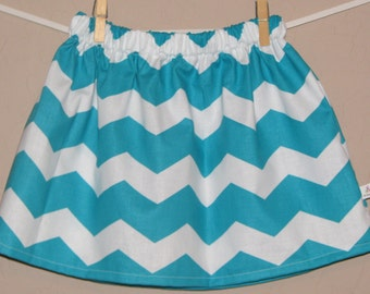 BUY 2 Get 1 FREE- Chunky Teal Chevron Skirt -Baby Toddler Girls Skirt -Chevron Print - Great for Spring Summer - Matching Top Available