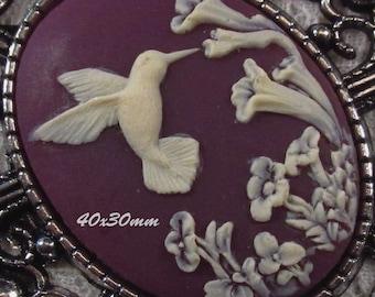 40x30mm Cameo - Ivory/Purple - Hummingbird - 1 pc : sku 05.04.13.3 - V2
