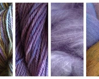 Hand Dyed Samples of Merino Wool DK Sport Weight Yarn in Violet Park