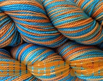 Orange Aqua Blue Dyed Yarn Fingering Weight Hand Dyed Sock Yarn in Hopi Land Superwash Aqua Turquoise Orange