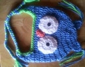 Crocheted Baby Owl Hat  Newborn to 3 years  You choose size
