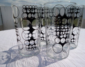 Mid Century Mod Black Enamel Circle Drinking Glasses Set of 4