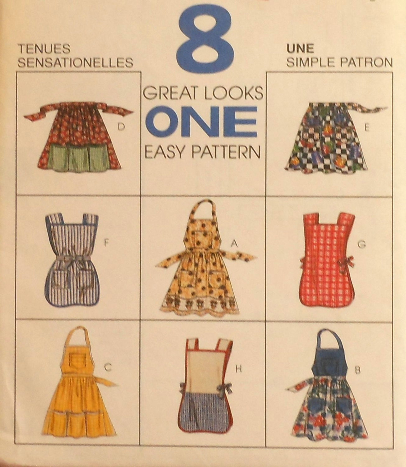 Apron sewing pattern mccalls 8512 8 different styles bib half for Apron designs and kitchen apron styles