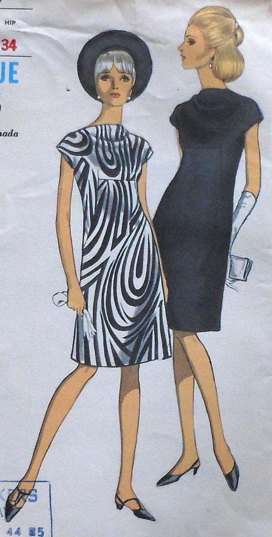 Vintage 60 39 s vogue cowl neckline dress sewing pattern for Cowl neck wedding dress pattern