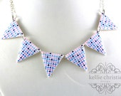 Bunting Necklace - Geometric Triangles - Purple - Made to Order