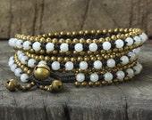 Pearl Agate Triple Wrap Brass Bracelet