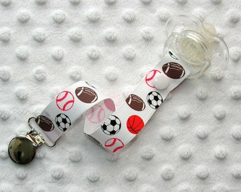 Multi Sports Balls Pacifier Clip / Soothie Clip