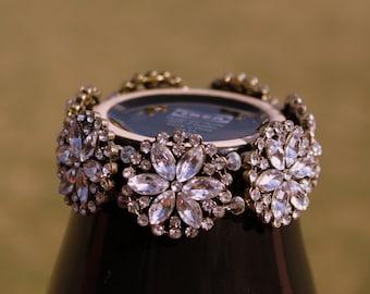 Crystal Bracelet, Wedding Bracelet, Bridal Jewelry, Beadwork Bracelet, White Crystal Bracelet