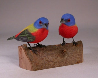 Pair of  Painted Bunting Hand Carved Wooden Birds