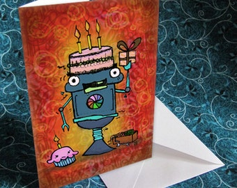 Cake for Brains Robot Birthday Card
