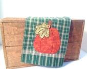 PUMPKIN Large Tea Towel --  Green -- Homespun Appliqued Cotton - N0.1