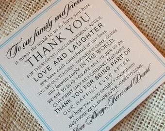 Set of 100 Wedding Thank You Cards - Thank You Design - your choice of colors - Shimmer Cardstock