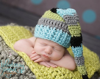 Elf Hat in Aqua, Lime, Black, and Grey Fringe Tail