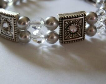 Two-stranded Silver Pearl Swarovski bracelet