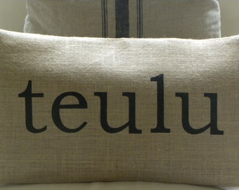 Welsh teulu family burlap pillow hessian cushion cover