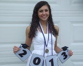 2015 Graduation Party Banner - Photo Prop - Blue Black White School Colors - Custom Made to Match School Colors