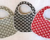 Skulls and Crossbones Baby Bibs - Red, Black and Grey - set of 3 bibs