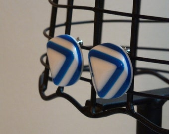 Vintage Blue and White Clip On Earrings- Geometric, Triangles, Round, Circle, Clip Ons