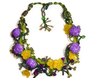 Summer in Scotland - freeform seed beaded necklace and earrings set with handmade polymer clay flowers clovers and buttercups