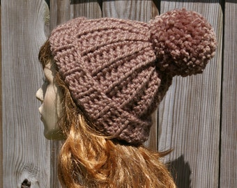 Pom Pom Hat Beanie Hat in Taupe Brown Chunky Ribbed Wool Hat