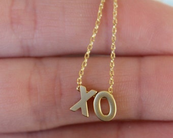 tiny xo necklace...gold necklace...Bridal Party. Gift.  Wedding