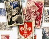 Vintage French Postage Stamps Digital scan Instant Download for ACEO, hang tags, charms, collage, journals, jewelry Pre 1958