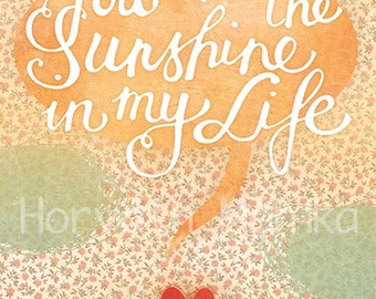 sunshine, heart, life, print, 6 x 9 print, wall decor, gift