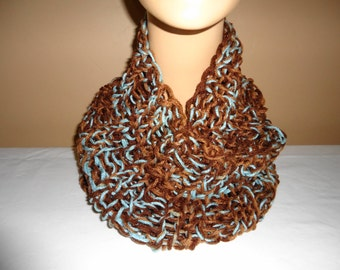 Warm cowl handknit for ladies in brown and turquoise