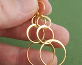 Gold interlocking circle earrings, gold earrings, gold hoops, entwined rings, eternity rings, gold links, gold circles, matte gold