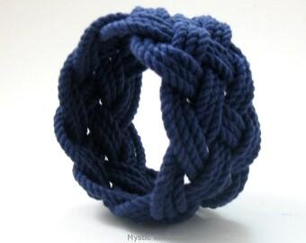 Sailor Knot Bracelet Classic Navy Wide Cuff Medium