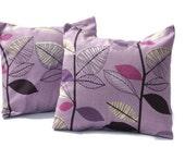Cushion purple violet lilac black white leaf decorative pillow cover shams UK designer fabric Two 16 x 16 inch