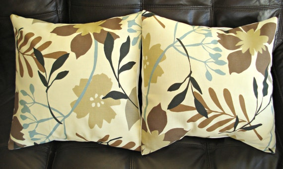 Decorative Pillows brown blue cream flower leaf print by VeeDubz