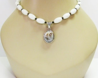 Sale White Agate and Chalcedony Pendant Necklace - White Gemstone Necklace - Chalcedony Pendant - Sterling Silver - OOAK