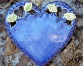 Romantic Deep Blue Lacy Heart Spoon  Rest