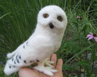 Mr. Snowy Owl, needle felted bird sculpture