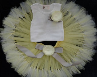 Grey Yellow Flower Girl Dress Tutu