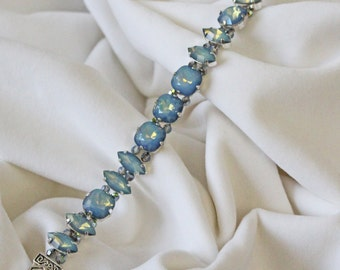 White Opal Star Shine Swarovski Crystal Bracelet-Statement Bracelet