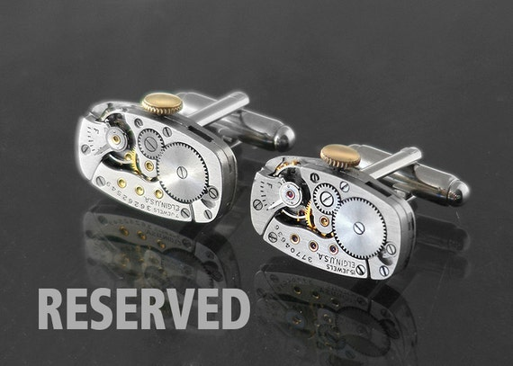 RESERVED FOR RK Steampunk Cuff Links, Vintage Elgin Watch Movements - Industrial Style Cuff Links
