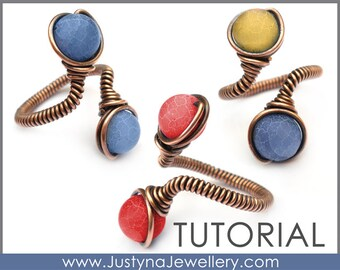 Wire Jewelry Tutorial, Beaded Ring Tutorial, Wire Wrapping Tutorial, Beading Ring Tutorial, Wire Ring Pattern, Adjustable Ring Tutorial