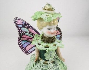 "Assemblage Art Doll ""Meadow Green"" Fairy Doll, Assemblage Angel, Green Angel Assemblage Doll"