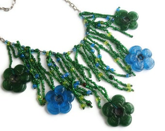 Emerald Beaded bib necklace hand made glass flower spring necklace