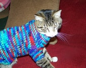 Crocheted Sweater for Small Dog or Full Grown Cat