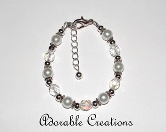 White Pearl & Crystal Bracelet With Wire Upgrade