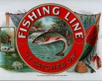 antique fly fishing trout cigar label illustration digital download