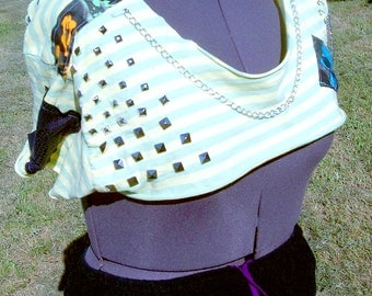 Handmade Plus Size Eco Friendly Clothing Stripes, Shreds and Skulls Studded Chained Reversible Ultra Mini Crop Top
