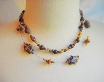 Art Glass Two Tier Necklace in Shades of Brown, Time Raveler