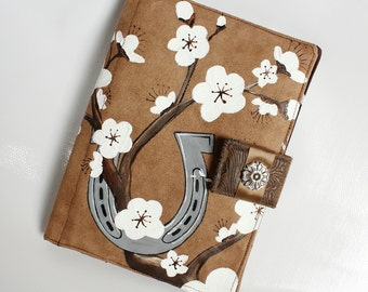 Kindle Fire Cover, Nook Cover, e-reader Cover-Mocha Brown Suede Padded Book Style Cover Hand Painted with Cherry Blossoms