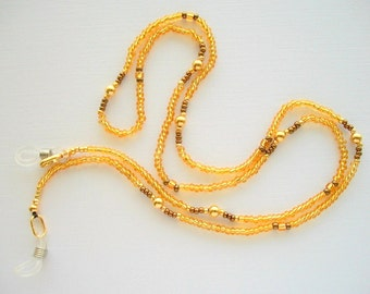 Amber Eyeglass Lanyard Beaded Holder with Gold Plated Glass Beads